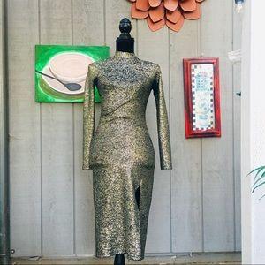 Topshop Gold And Black Bodycon Midi Dress Size 2